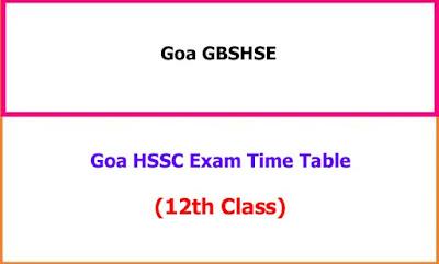 Goa HSSC 12th Class Supply Exam Time Table