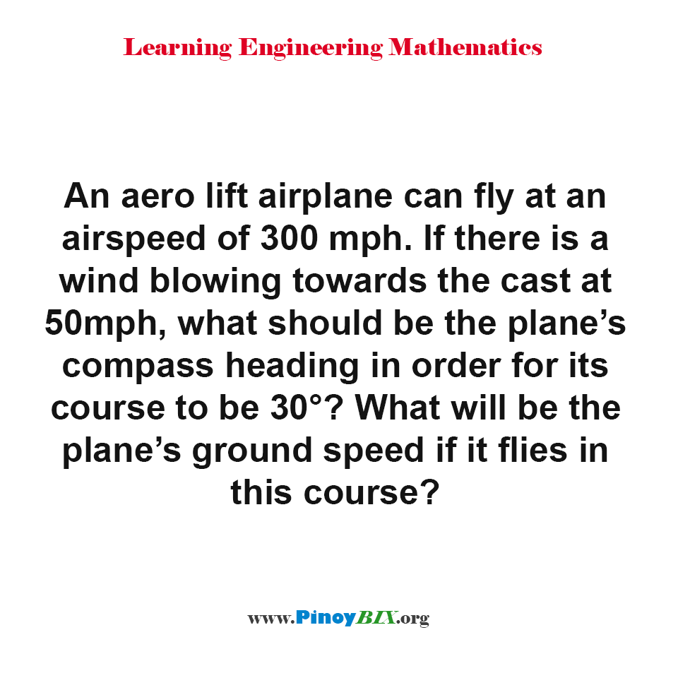 What will be the plane's ground speed if it flies in this course?