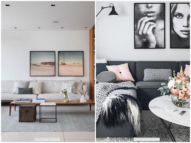 composição de quadros atrás do sofá