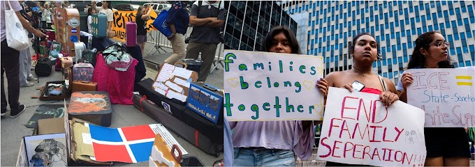 Dominicanos participan en la Marcha de las Maletas en protesta por las deportaciones