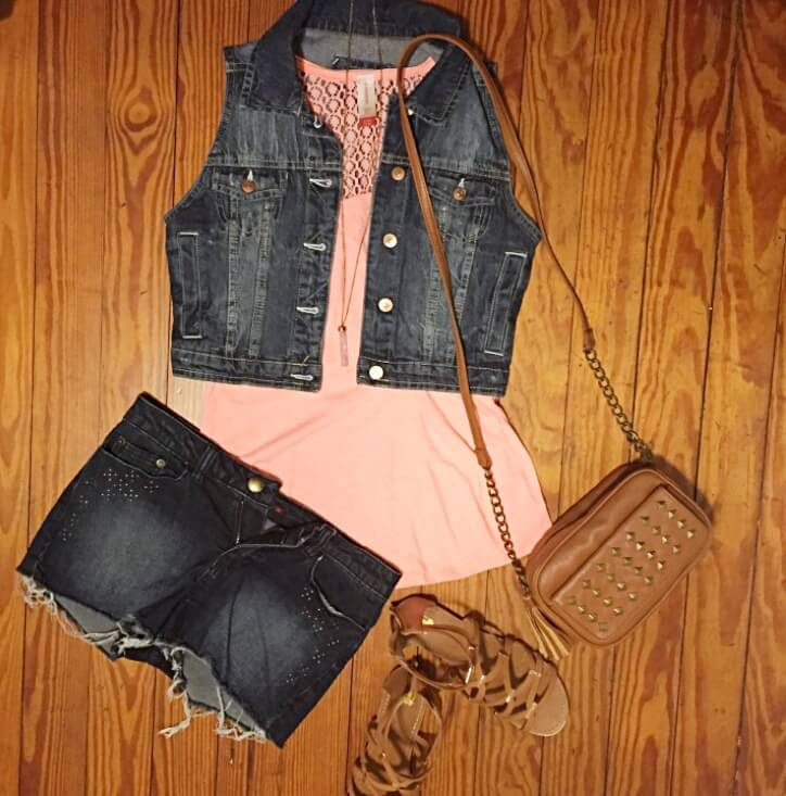 denim vest and coral tank top outfit of the day summer 2018