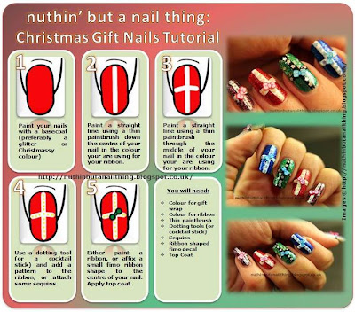christmas present nails tutorial