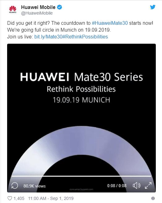 سلسلة هواتف هواوي ميت 30 سيتم الكشف عنها رسمياً في 19 سبتمبر