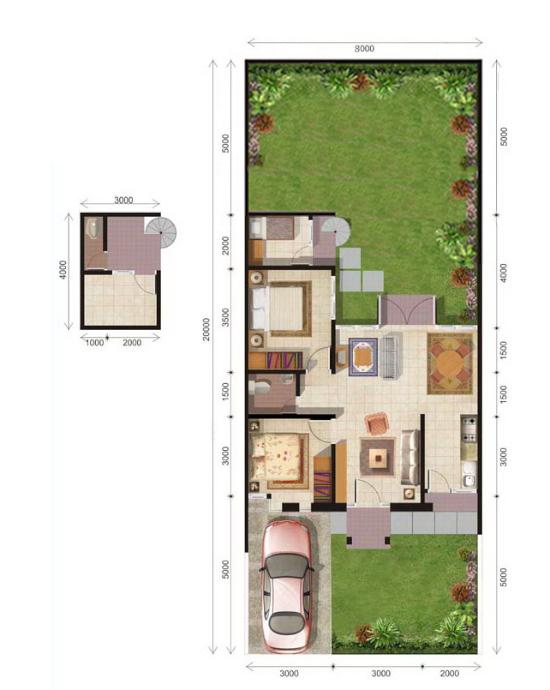 Denah rumah minimalis ukuran 8x20 meter 3 kamar tidur 1 lantai
