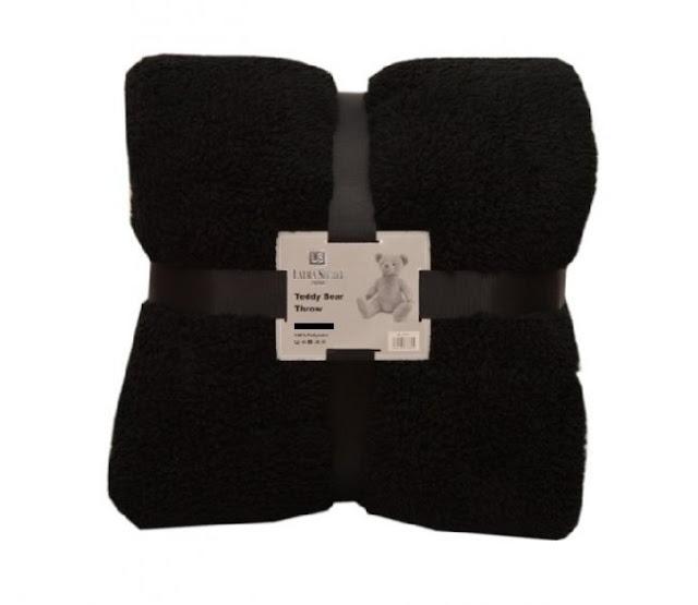 Yorkshire Linen black teddy bear throw