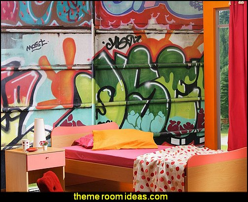 Graffiti Mural  grafitti wall mural Graffiti wall murals-union jack theme decor - punk style theme bedrooms
