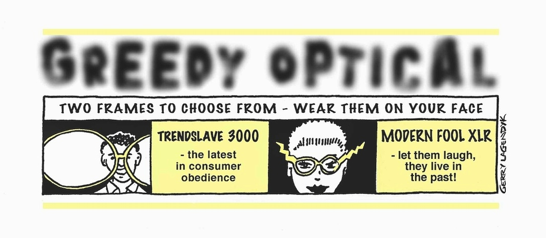 glasses cartoon, advertisement parody, consumerism