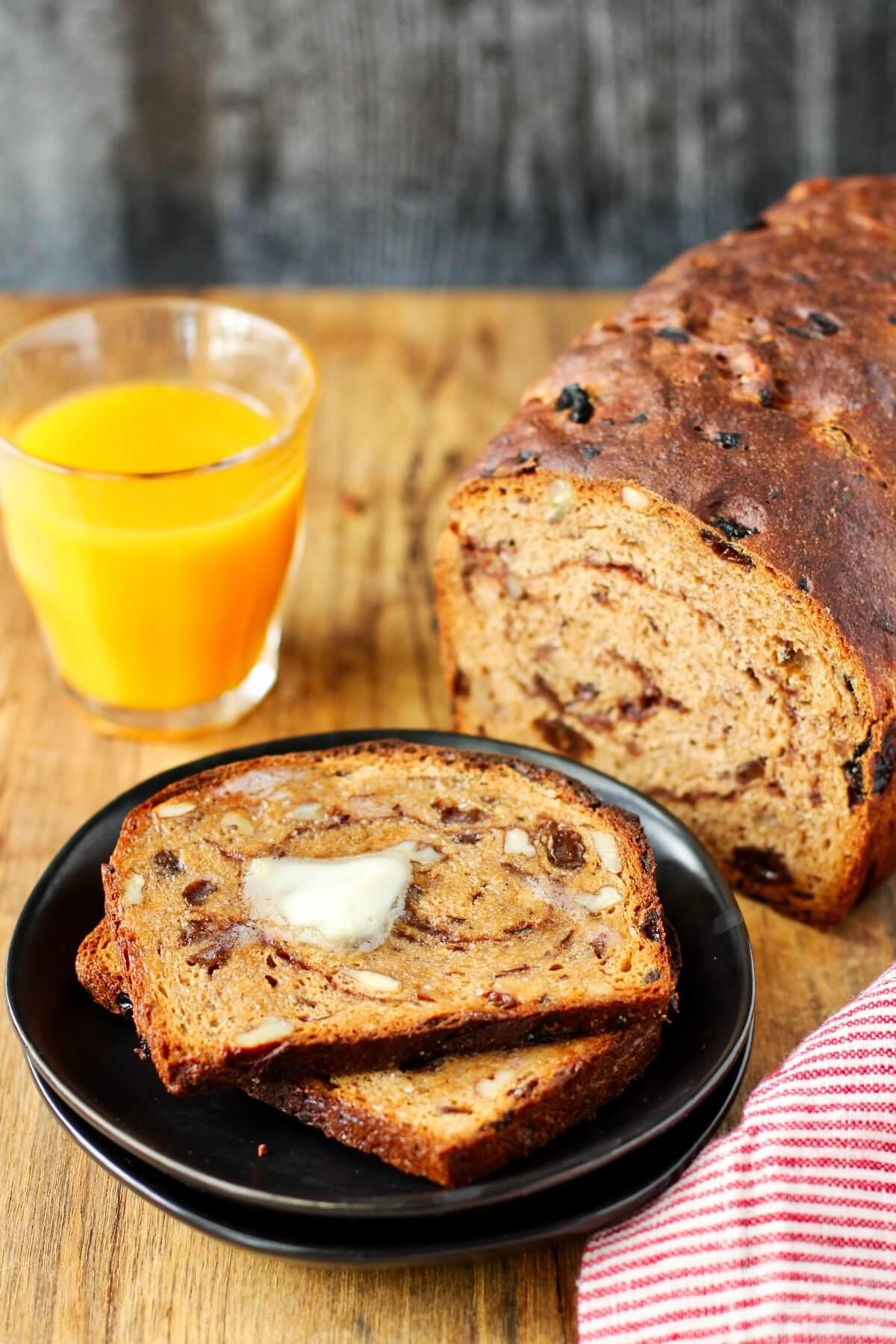 Whole wheat raisin bread