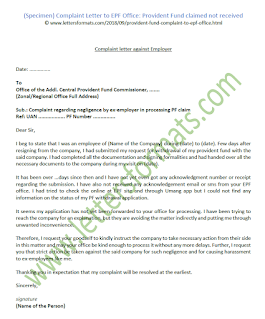 how to write a letter to pf commissioner for pf withdrawal