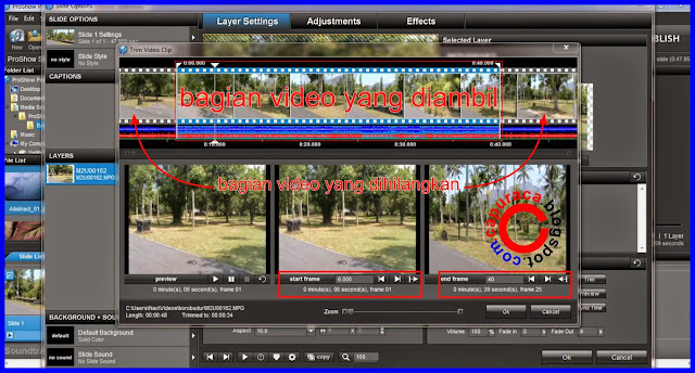 Cara memotong video menggunakan proshow produser