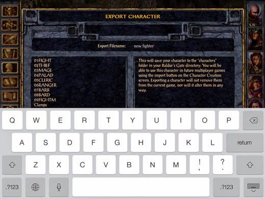 import a character from Baldur's