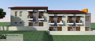 Tampak Samping Kanan Desain Rumah kost minimalis modern 2 lantai
