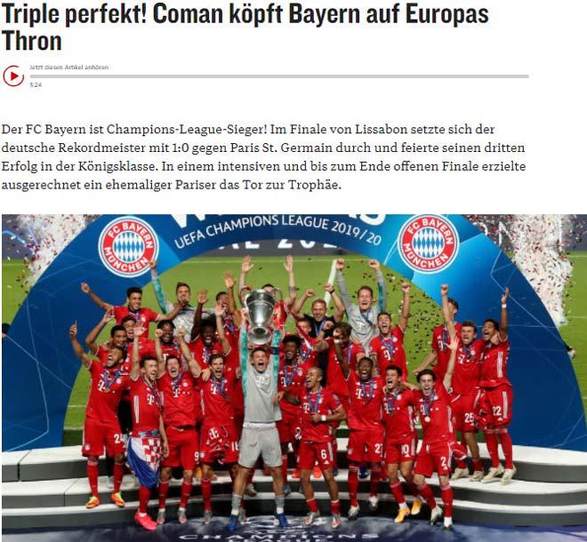 Bayern Munich vô địch Cúp C1: Báo chí ngợi ca người hùng bất ngờ hạ PSG 3