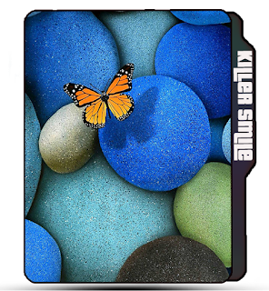 Blue Butterfly folder icon, Blue stone icon, Yellow Butterfly, White stone, ocean stone folder icon.
