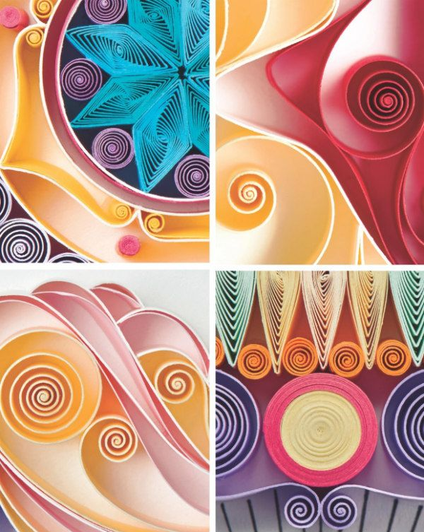 detail of four quilled designs