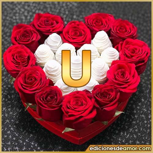 corazón de rosas rojas U