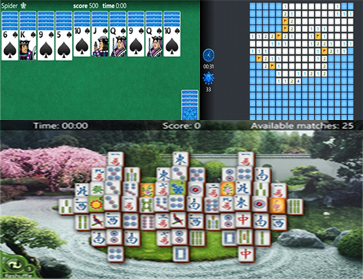 Solitaire, Mahjong dan Minesweeper di Windows Phone