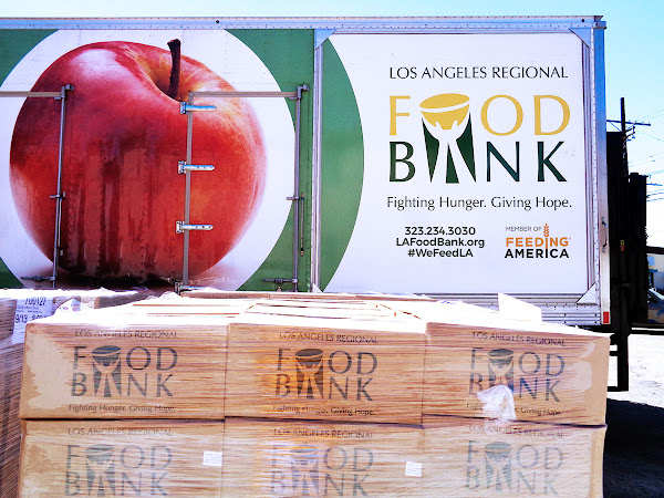 LOs Angeles Food Bank truck Apple side