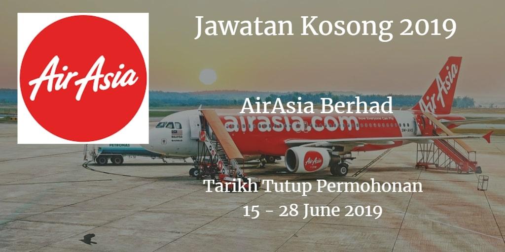 Jawatan Kosong AirAsia Berhad 15 - 28 June 2019