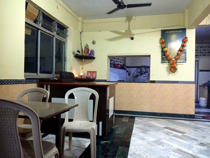 Seating area Gourgeeta pure vegetarian restaurant at Harihareshwar