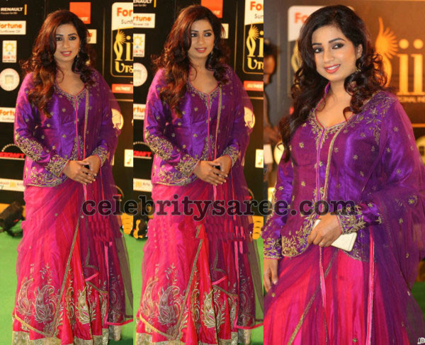 Shreya Ghoshal Pink and Purple Lehenga