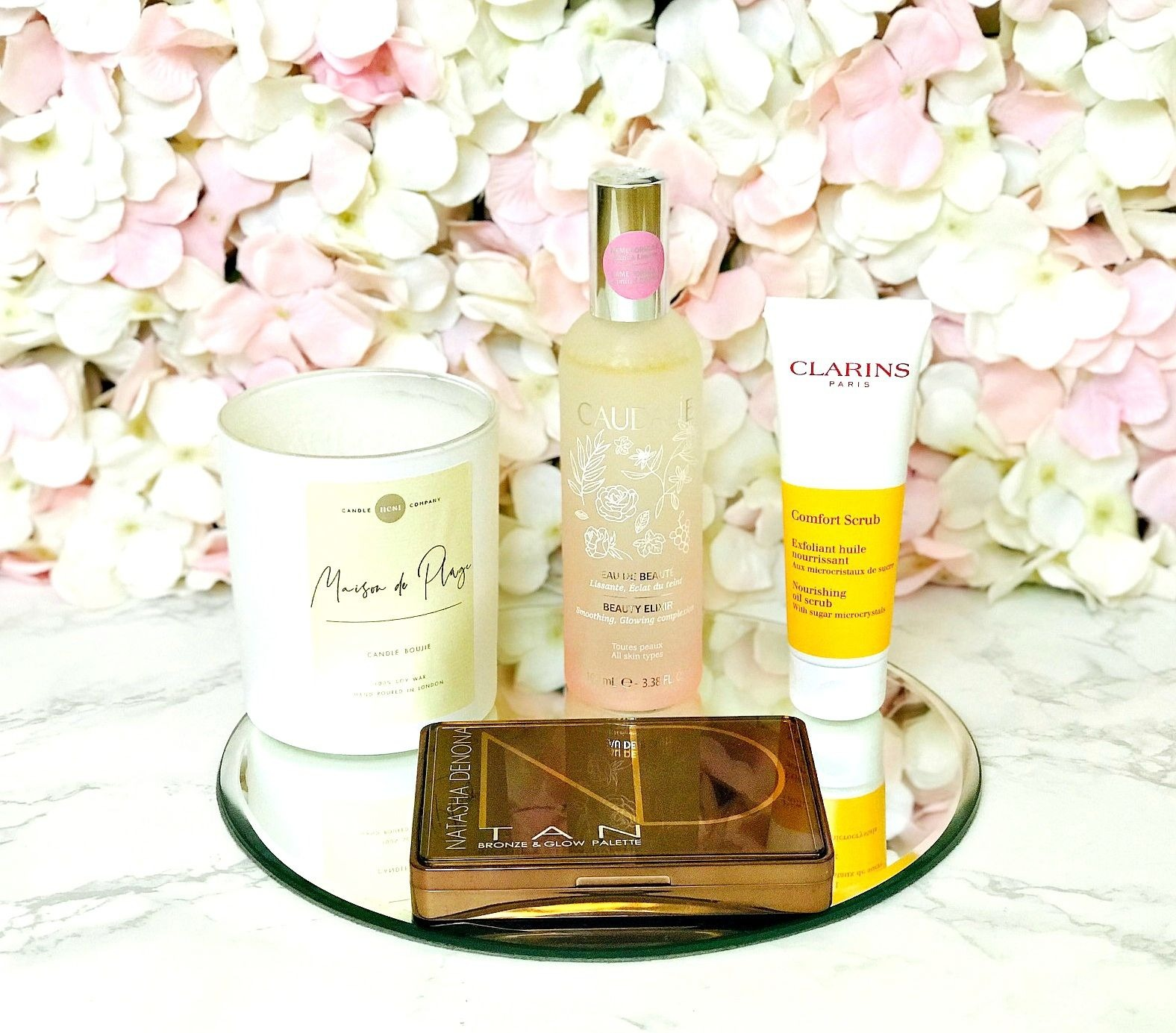 3 treats for 3 budgets, Caudalie Beauty Elixir, Clarins Comfort Scrub, Natasha Denona Tan Palette, Nest Candles