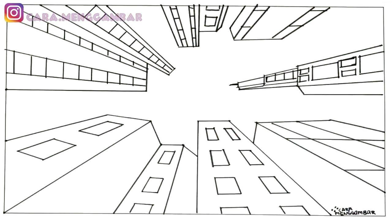 Cara Menggambar Dan Mewarnai TEMA PEMANDANGAN KOTA Yang
