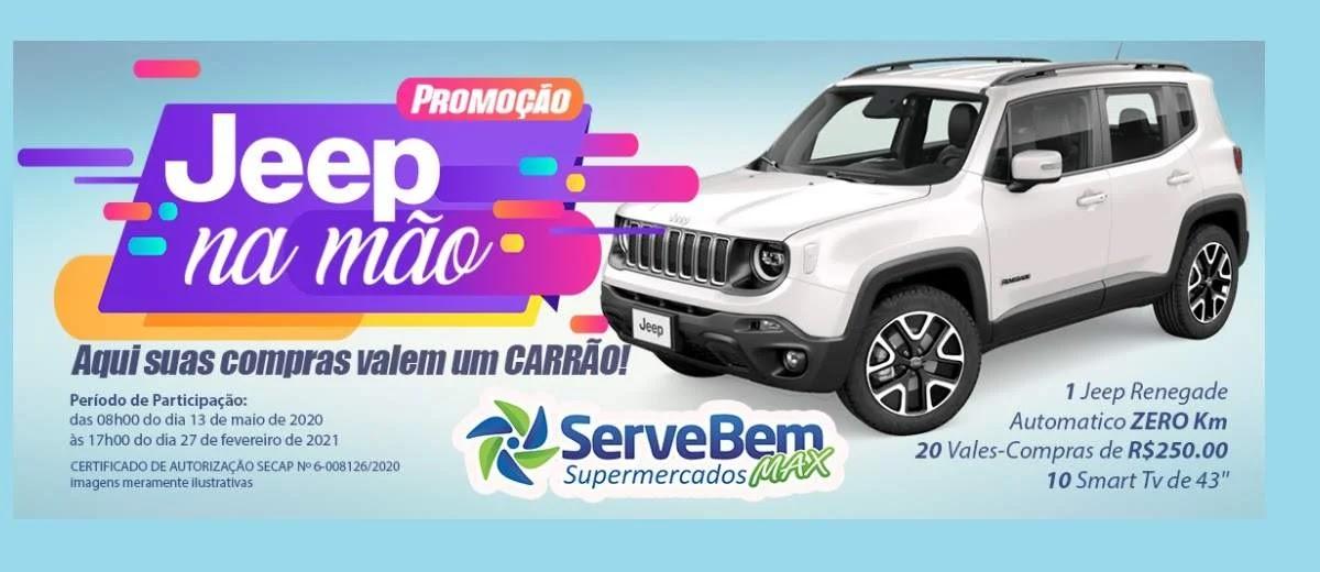 Jeep na Mão Promoção Serve Bem Supermercados 2020 - Cadastrar, Supermercados