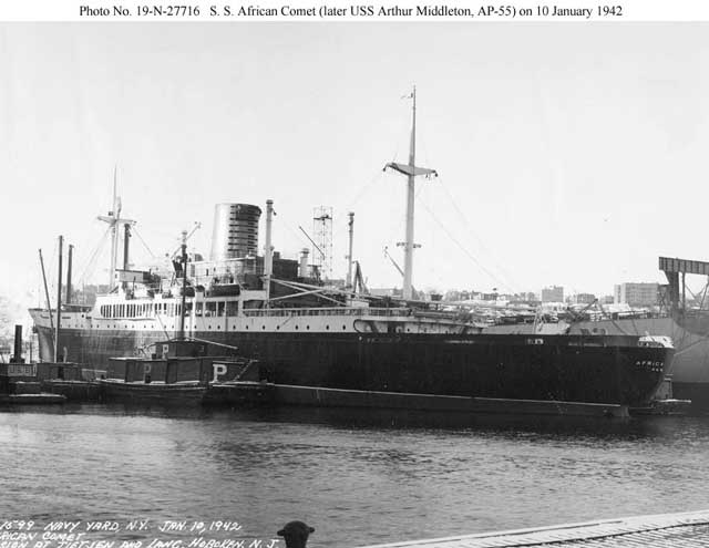 SS African Comet, converted to USS Arthur Middleton on 10 January 1942 worldwartwo.filminspector.com