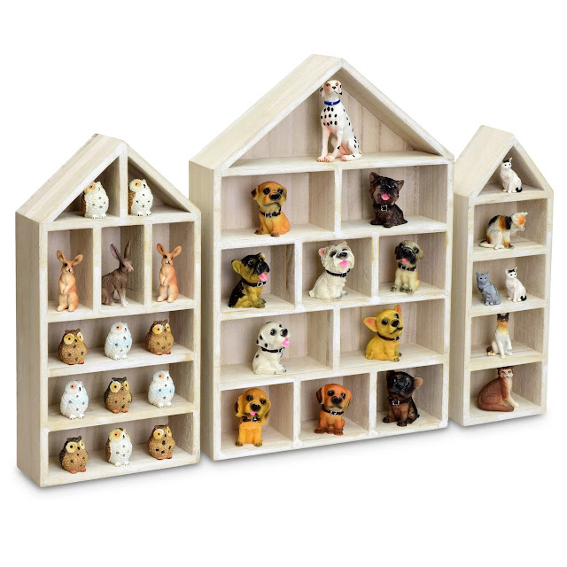 House-Shaped Wooden Shadow Cubby Box Display Shelf from Nile Corp