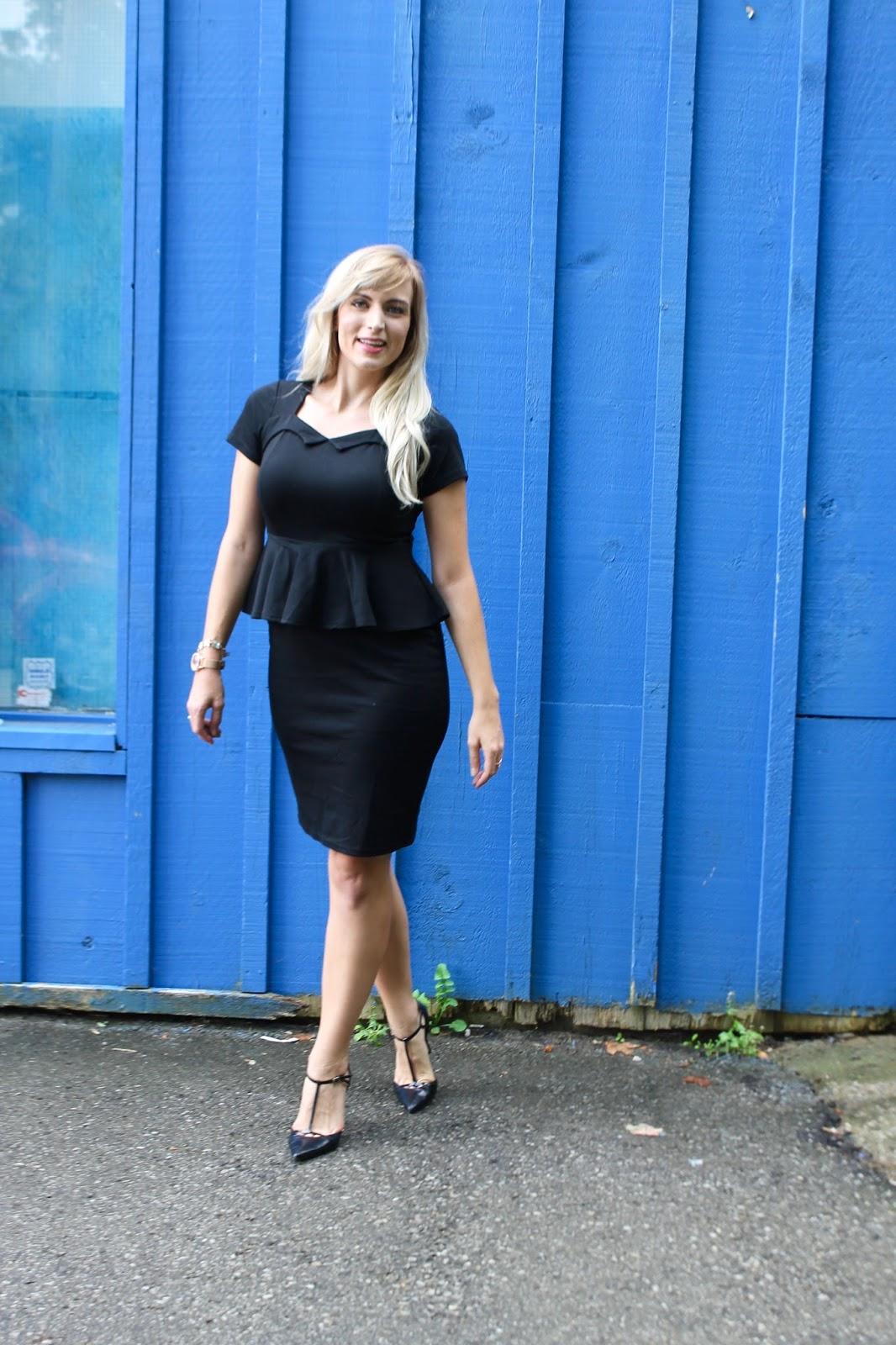 black office dress with peplum waist