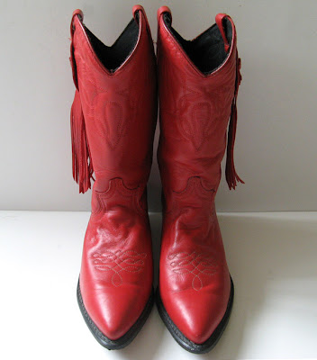 Acme Red Leather Cowboy Boots Womens Size 7 5