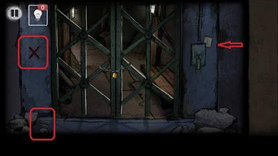 решетка закрыта, собираем ключ и камень в игре выход из заброшенной шахты