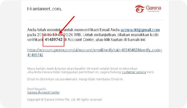 Email Untuk Ganti Pasword PB Garena