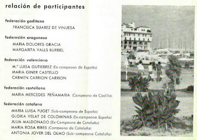 Relación de las participantes en el IX Campeonato de España Femenino 1965