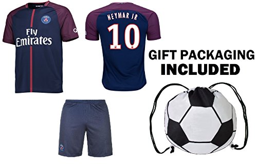 check out 8adc7 96eae Fan Kitbag Neymar Jr #10 PSG Soccer Jersey & Shorts Paris Saint Germain  Youth Kids Home/Away ✓ ...