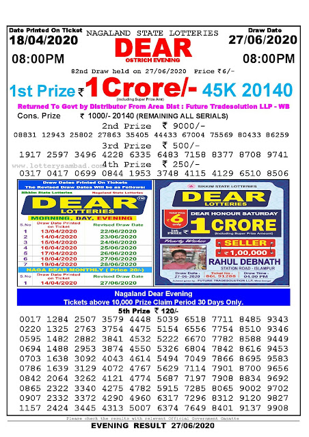 Lottery Sambad Today 18.04.2020 Dear Ostrich Evening 8 pm