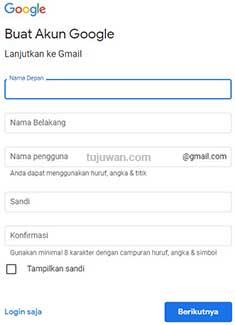 Homepage Yang Dimiliki Google Dalam Pembuatan Email Adalah gmail.com