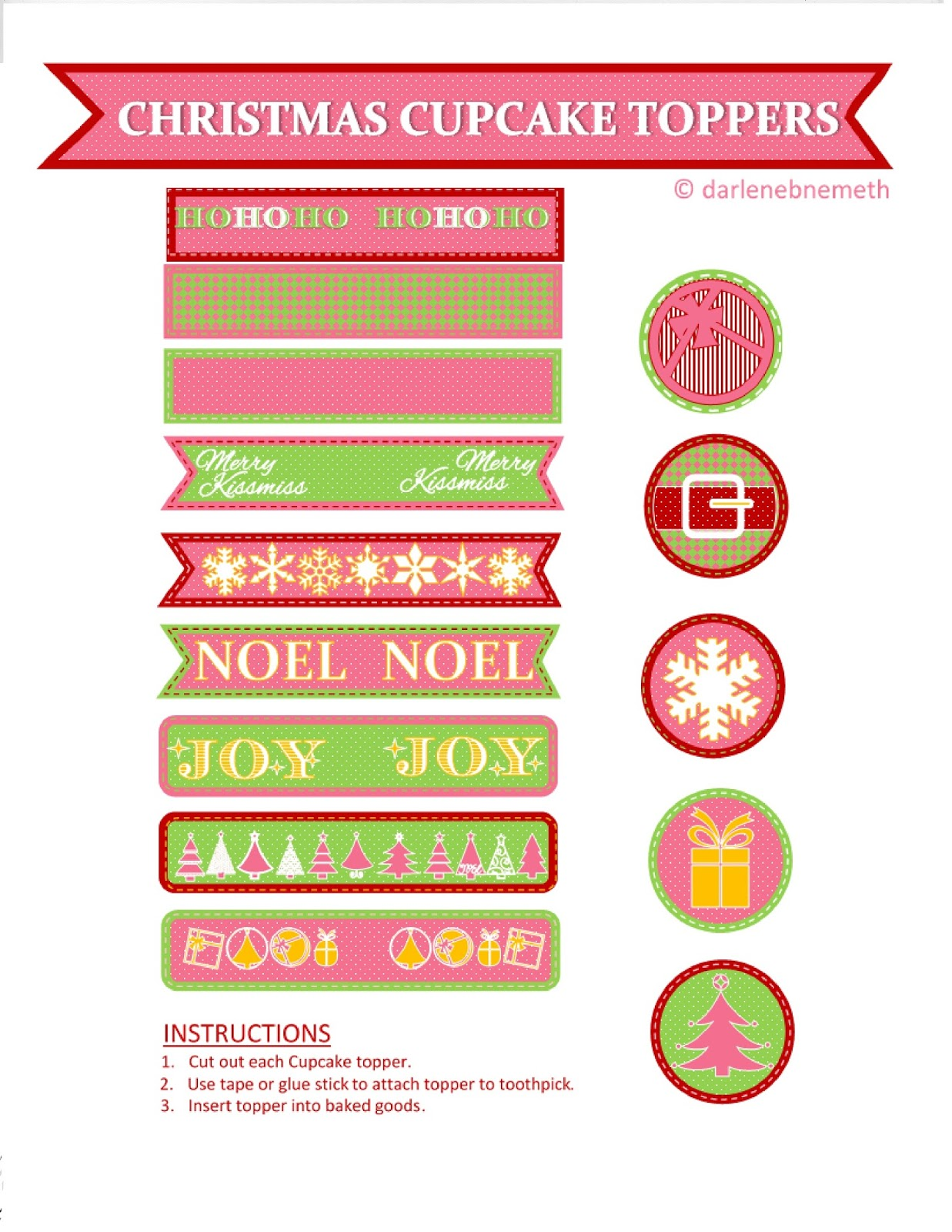 Christmas Cupcake Toppers Free Printable.Let It Shine Freebie Christmas Cupcake Toppers