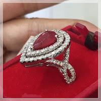 Cincin Berlian Eropa Batu Ruby