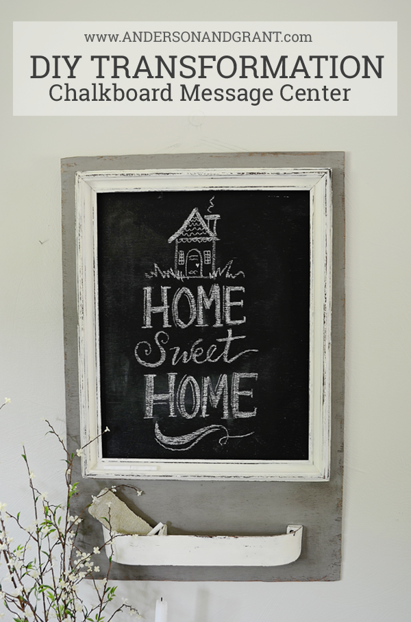 DIY Chalkboard Message Center made from a vintage frame and compartment on sewing machine door | www.andersonandgrant.com
