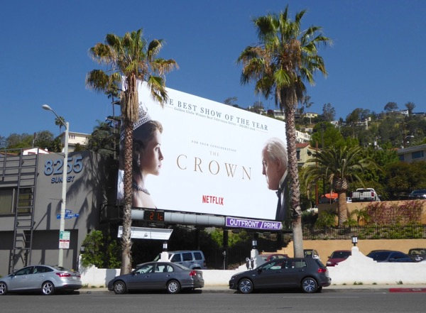 Crown season 1 Emmy FYC billboard Sunset Strip
