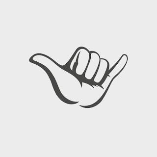 SURFER salute, the shaka sign
