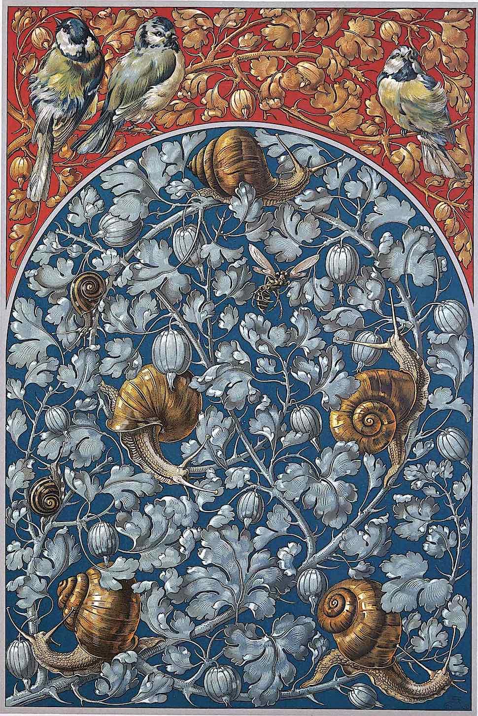 German color ornament with snails, 1886?