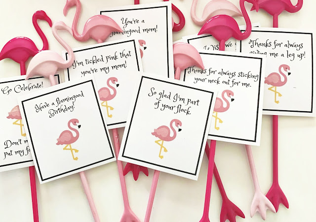 Flamingo party in a box with free pun printables @michellepaigeblogs.com