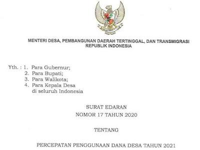 Surat Edaran Mendes PDTT Dana Desa 2021