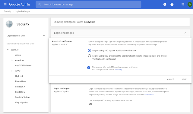 Use Google 2-Step Verification and risk-based login challenges with 3rd-party identity providers