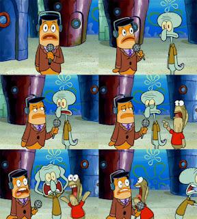 Polosan meme spongebob dan patrick 68 - squidward panik masuk acara televisi