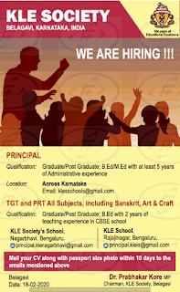KLE Society's School TGT  teacher Recruitment