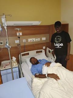Anti-Buhari Protester, Deji Adeyanju receiving treatment in Dubai (Photos)